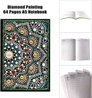 Diamond Painting Mandala Cover Notebook DIY Special Shaped Diamond Painting Diary Book 64 Pages A5 Office Notebook for Birthdays or (NB25)