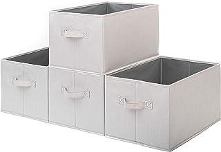 Pomatree Storage Baskets - 4 Pack - Sturdy Large Fabric Bins   Foldable Organizing Basket Bin for Home, Nursery, Closet & ...