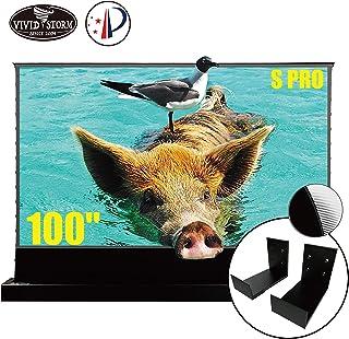 VIVIDSTORM S PRO Ultra Short Throw Laser Projector Screen,Black Housing Motorized Floor Rising Screen 100 inch Ambient Lig...
