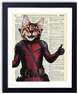 Deadcat Cat Super Hero Vintage Wall Art Upcycled Dictionary Art Print Poster Kids Room Decor 8x10 inches, Unframed