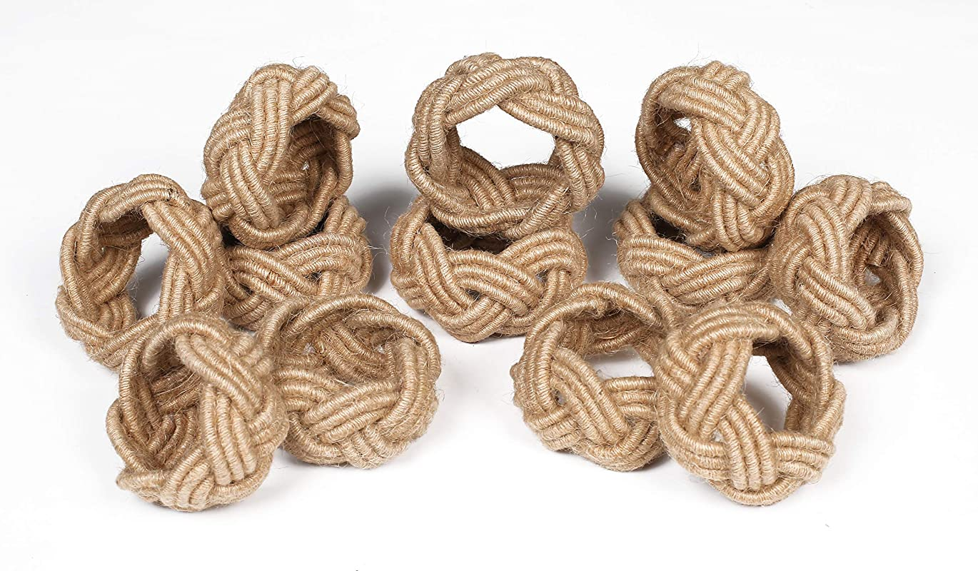 Handmade Set Of 12 Classic Braided Jute Burlap Napkin Rings Natural Hand Made By Skilled Artisans A Beautiful Complement To Your Dining Table D Cor