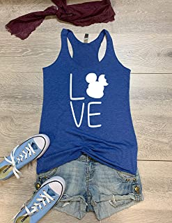 Bite Ear Mickey Love. Hand Screen Printed With Eco Ink. Women's Eco Tri-Blend Tanks. Women Clothing. Triblend Tank. Super Soft Tank. True To Women's Fit.
