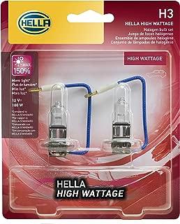 HELLA 100WTB Wattage-100W High Wattage H3 Bulbs, 12V, 2 Pack