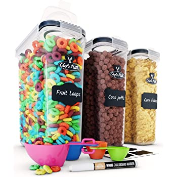 Cereal Container Storage Set - Airtight Food Storage Containers, 8 Labels, Spoon Set & Pen, Great for Flour - BPA-Free Dispenser Keepers (135.2oz) - Chef's Path (3)