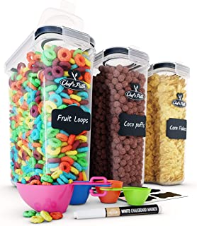 Cereal Container Storage Set – Airtight Food Storage Containers, 8 Labels, Spoon..
