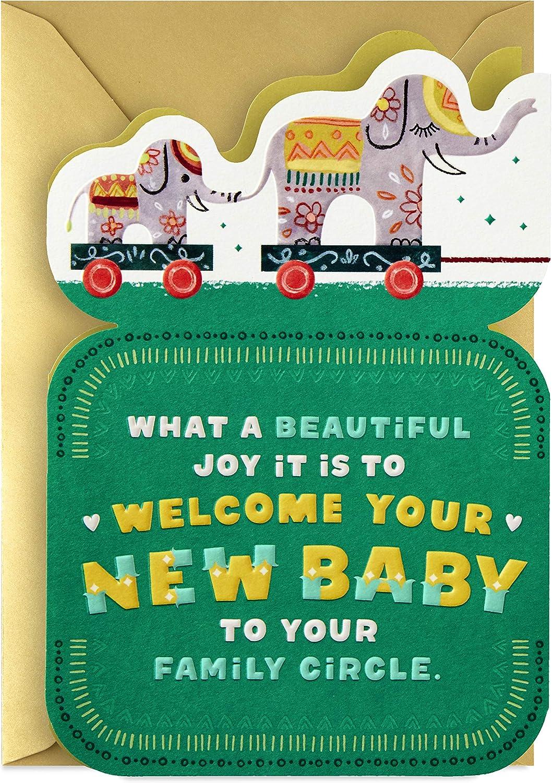 Hallmark Golden Thread Baby Shower Card for Family (Elephant Toys)