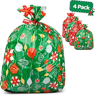 """Large Christmas Gift Bags – Set of 4 Xmas Present 36""""x44"""" Jumbo Extra Large Wrapping - Plastic Giant Gift Bags for Huge Gifts - Heavy Duty Big Gift Sack Set with Tags & String Ties"""