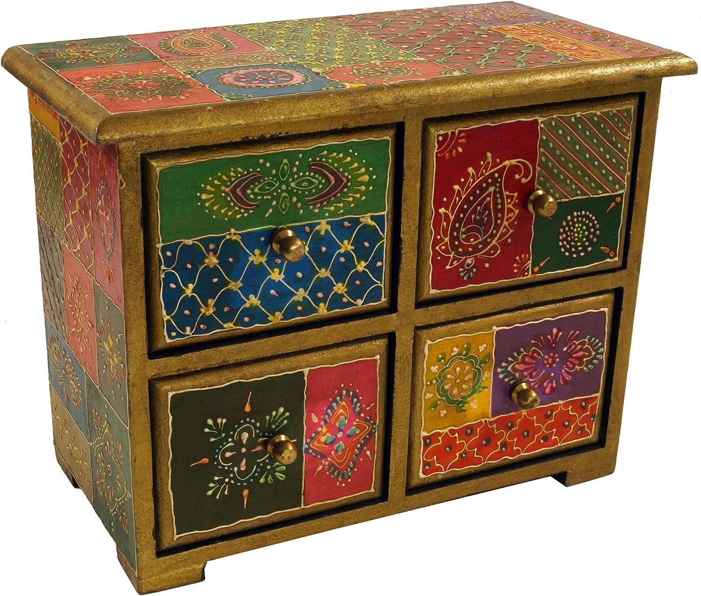 Piccolo Schubfachschr/änkchen Guru-Shop Mobile Farmacista con Colorate 2 Scomparti 10x15x8 cm