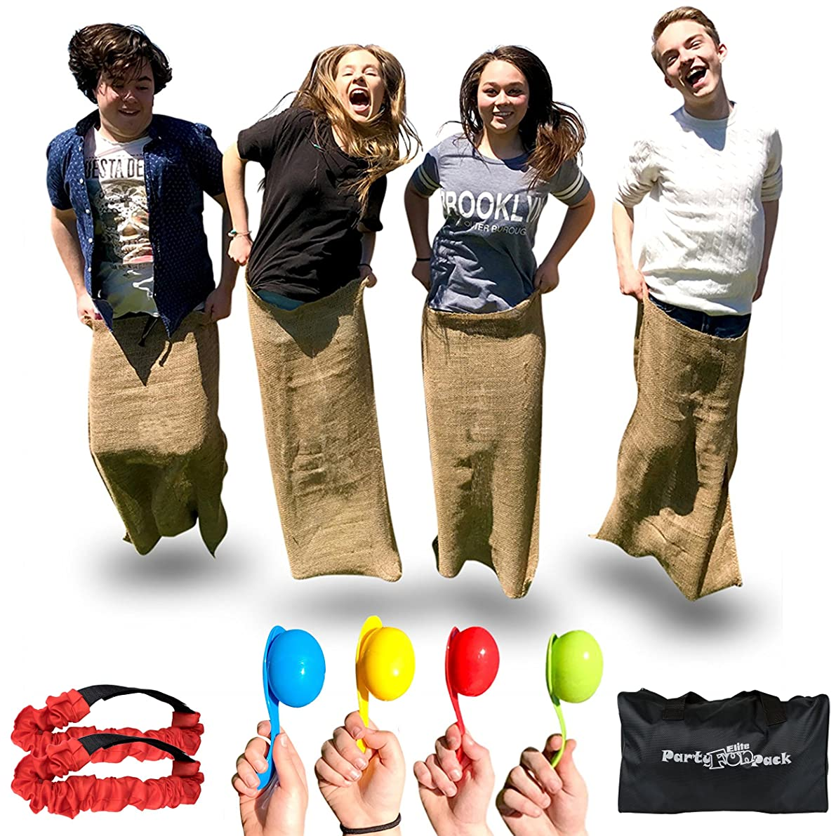 Elite Potato Sack Race Bags - 3 Fun Outdoor Games for Family, 3 Fun Party Games for Kids - Active Outside Games to Get Kids Moving. Potato Sack Race Bags for Kids Store Away in a Neat Compact Bag