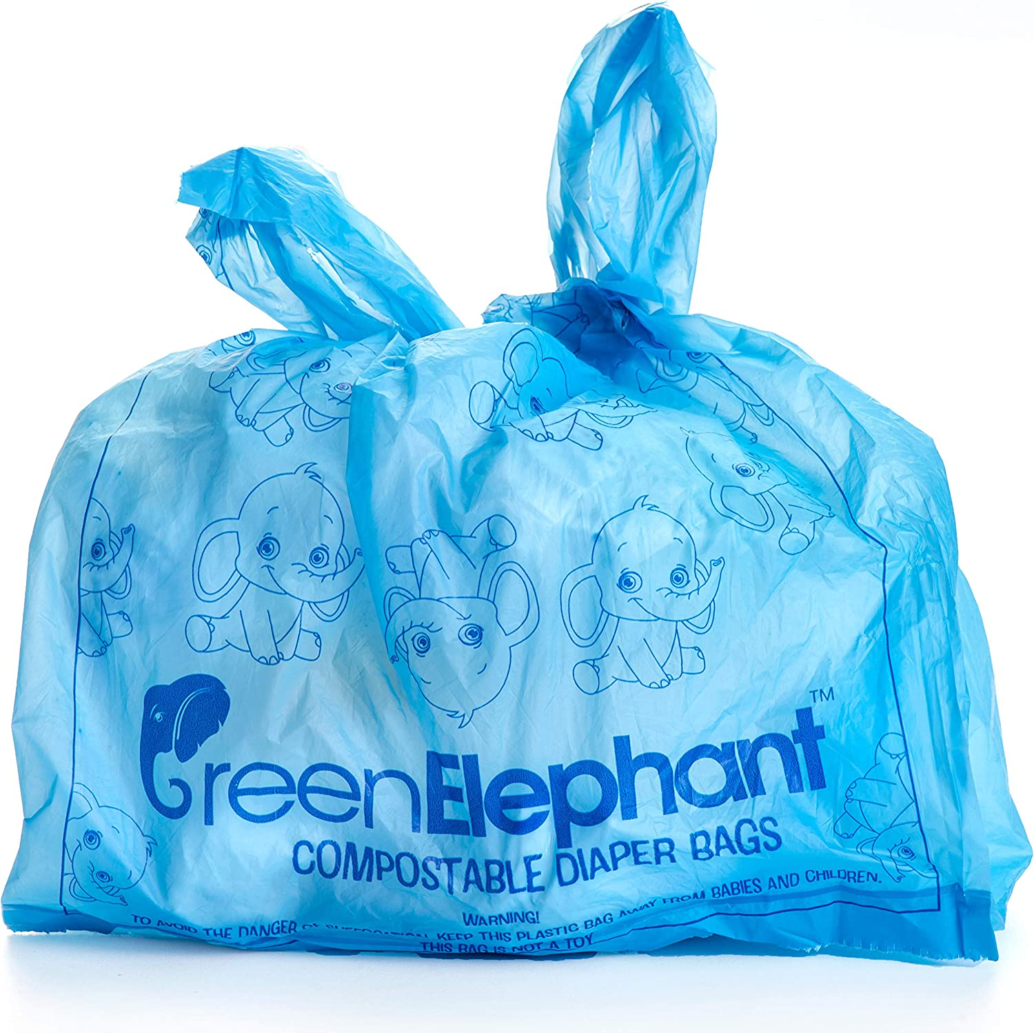 Green Elephant Diaper Bags Disposable   Compostable Diaper Sacks 108 Count   Biodegradable Eco-friendly Easy-to-tie Diaper Trash Bag   Set of 2 Rolls