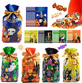 50 PCS Halloween Treat Bags - Halloween Candy Party Favor Bags, Plastic Drawstring Gift Bag, Halloween Goodies Cookie Choc...