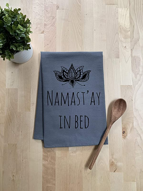 Funny Dishcloth Tea Towel Namastay In Bed Funny Kitchen Cloth Pun Gray