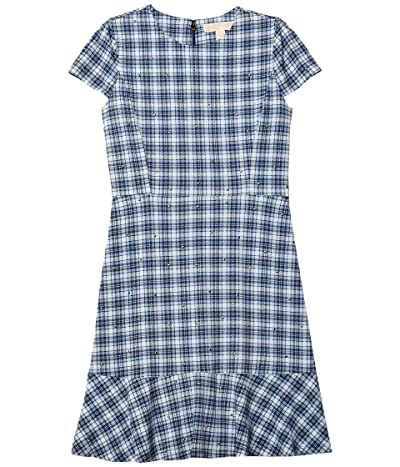 MICHAEL Michael Kors Petite Glam Plaid and Stud Flounce Dress (Chambray) Women