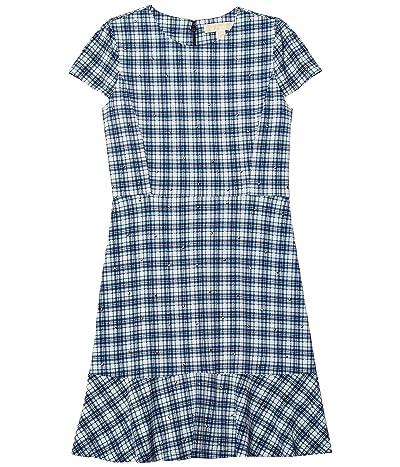 MICHAEL Michael Kors Petite Glam Plaid and Stud Flounce Dress (Chambray) Women