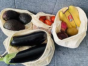 6 Reusable Organic Cotton Produce Bags - Cotton Mesh Bags for Grocery - Reusable Bags for Vegetable - Organic Cotton Mesh ...