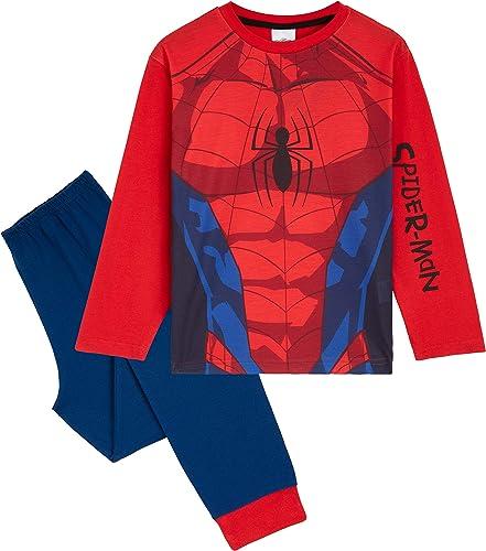 Marvel Pijama Niño, Disfraz Spiderman Niño, Conjunto Dos Piezas con Camiseta Manga Larga y Pantalones, Regalos para N...