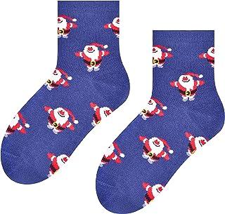 Calcetines divertidos de Navidad con Papá Noel para niños, vaqueros, talla UK