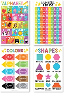 Alphabet, Count 1-100 Numbers, Colors, 2D 3D Shapes, ABC Posters For Toddlers Wall Art Decor, Counting Learning Chart For ...