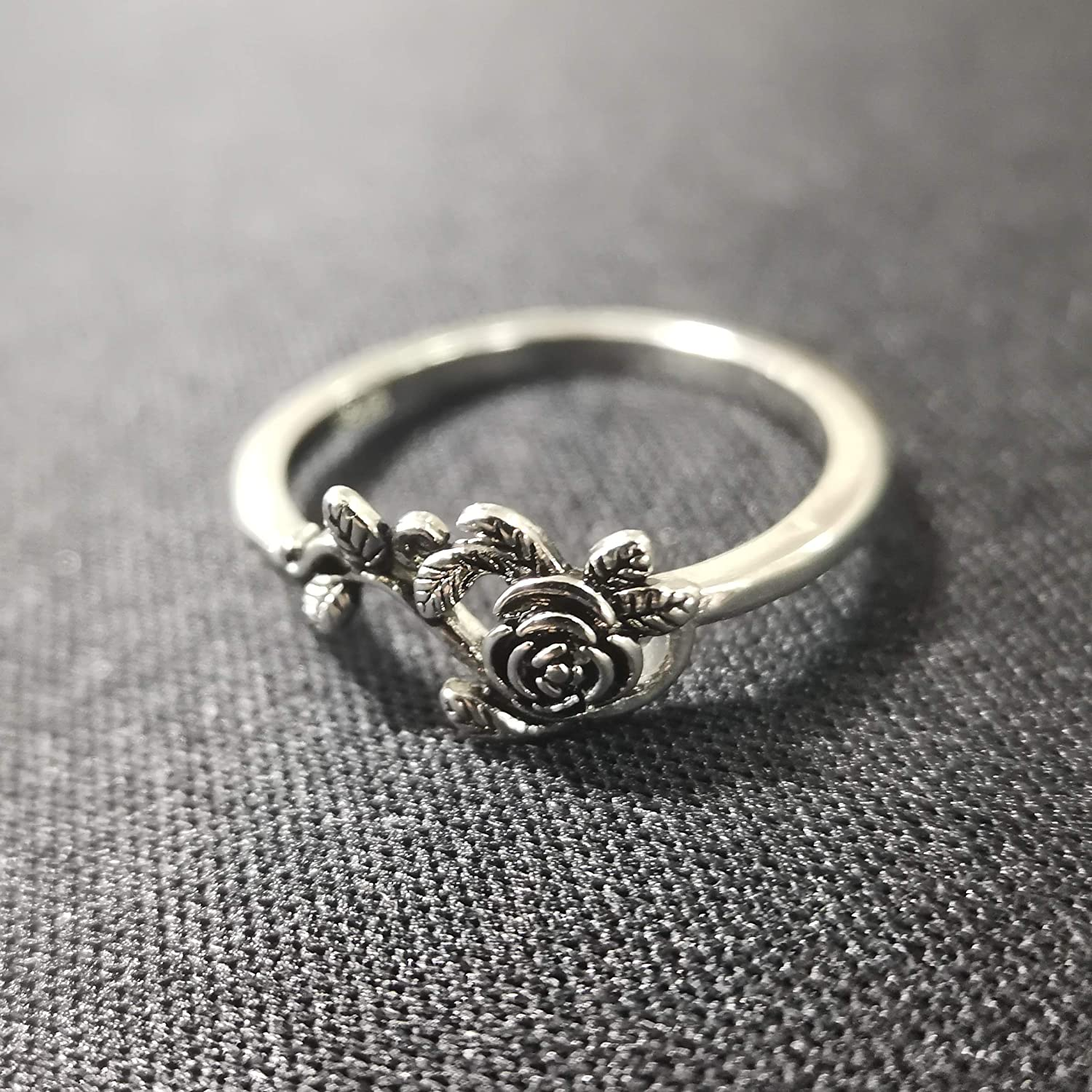 Branded goods GRHOSE Tiny Rose Flower Silver Ring Rings for Factory outlet Women Simple Smal