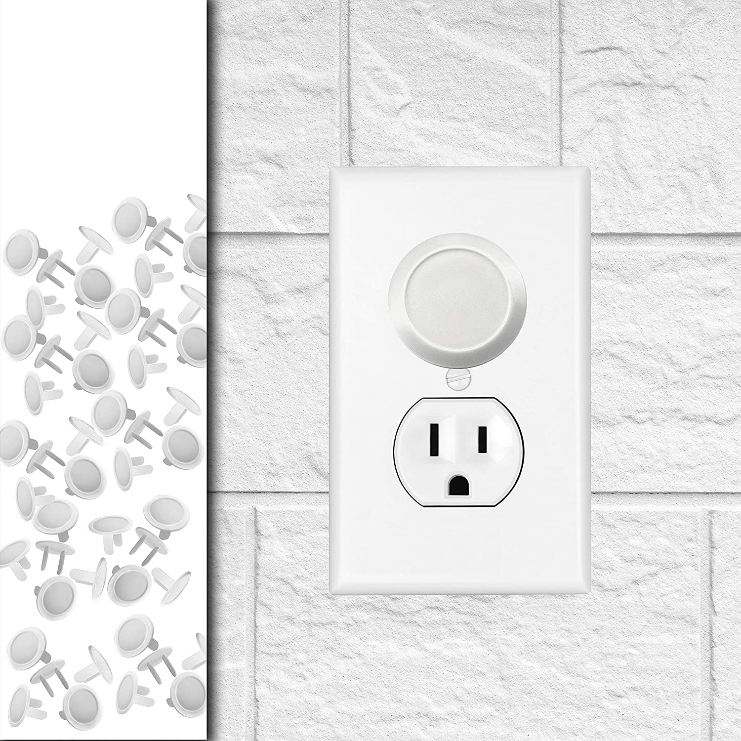 50 Pack - Outlet Plug Baby Safety Covers - Protect Little Kids from Electrical Danger with Child Proof Socket Caps - White - Driddle