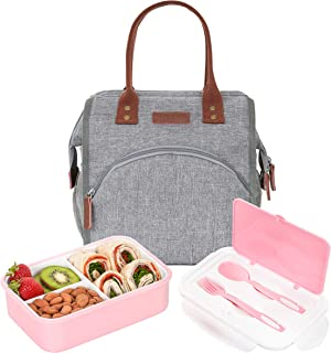 BUNNYSLOPE Insulated Lunch Bag and Bento Box with 3 Leakproof Compartments for Adults and Kids Pink