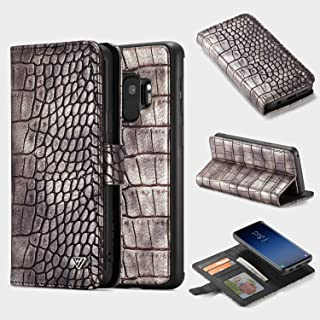 Protective Case Compatible with Samsung Galaxy S9 Case, Premium PU Leather [Crocodile Pattern] Multi-function Wallet Case with Credit Card Slots, Removable Hard PC+TPU Anti-Scratch Shockproof Case Com