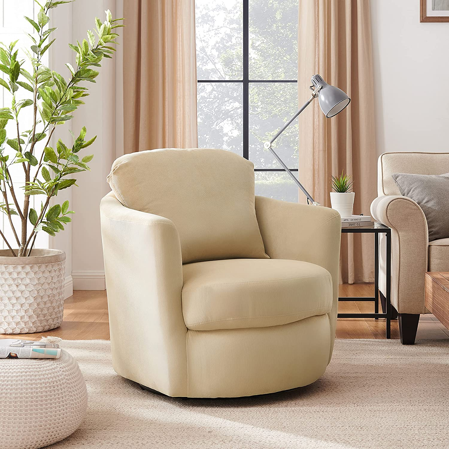 Volans Swivel Chair Modern Corduroy Fashion Special sale item Upholstery Fabric Barrel Sw