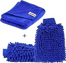 SYCEES Guanti e Panno per Lavaggio Pulizia Lucidatura Auto/Impermeabile Super Assorbente Microfibre Pelo Ultrafine/ Confezione di un Paio di Guanti e un Panno da Pulizia