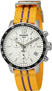 Men's 'Quickster' Swiss Quartz Stainless Steel and Nylon Watch, Color:Yellow (Model: T0954171703705)