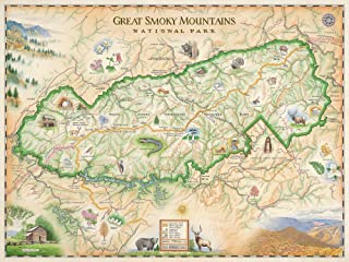 Xplorer Maps Great Smoky Mountain National Park Map - Authentic Hand Drawn Map - Lithographic Fine-Art Print