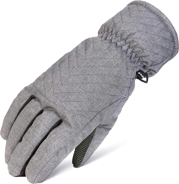 ST119-BLACK//GREY, Large Waterproof Ski Gloves for Women SNOTEK Womens Winter Gloves with Faux Fur Lining