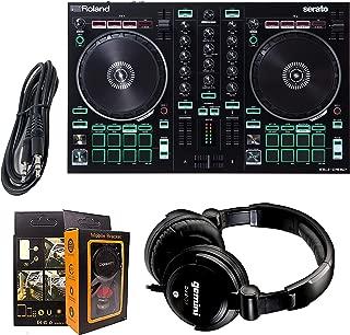 Roland PK Two-Channel, Four-Deck Serato DJ Controller DJ-202 + Gemini DJX-07 Headphone w/Free 3.5mm AUX Cable & Magnet Car Mount