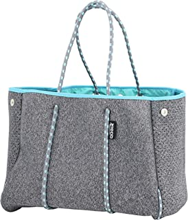 QOGiR Neoprene Multipurpose Beach Bag Tote with Inner Zipper Pocket and Movable Board (Elegant Grey, X-Large)