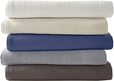 Eddie Bauer Home   Herringbone Collection   Blanket-100% Cotton, Lightweight & Breathable, Machine Washable Easy Care, Ki
