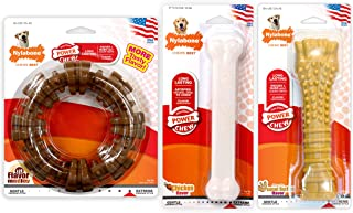 Nylabone ND1009 Power Chew Toy Bundle - Dog Toys for Aggressive Chewers Bacon Giant White