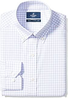 "Buttoned Down Men's Tailored Fit Button-Collar Pattern Non-Iron Dress Shirt, Purple/Blue Check, 17"" Neck 32"" Sleeve"