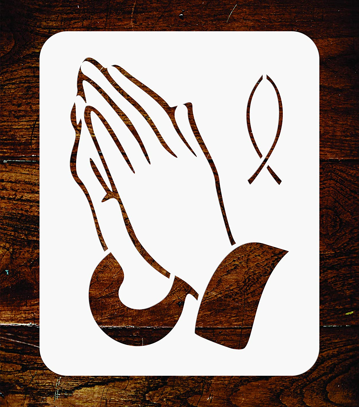 Praying Hands Stencil - 4.5 x 6 inch - Reusable Religious Catholic Fish Wall Stencils Template - Use on Paper Projects Scrapbook Journal Walls Floors Fabric Furniture Glass Wood etc.
