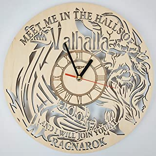 7ArtsStudio Valhalla Vikings Wall Clock Made of Wood - Perfect and Beautifully Cut - Decorate Your Home with Modern Art - Unique Gift for Him and Her - Size 12 Inches