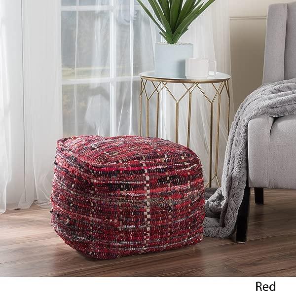 Great Deal 家具 299655 Henrietta Red Fabric Pouf