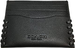 09c75c20a055 Coach Slim Card Case Baseball Stitch F22370 Black
