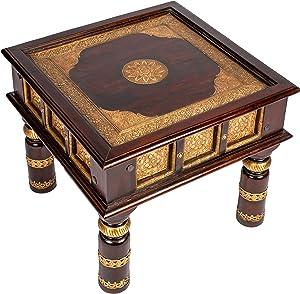Marokkanischer Wohnzimmertisch Couchtisch aus Holz massiv Sunita 60cm | Vintage Tisch aus Massivholz mit Messing verziert für Ihre Wohnzimmer | Niedriger Orientalischer Sofatisch Massivholztisch Braun