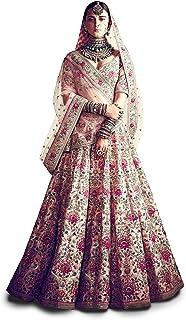 Zeel Clothing Women's Art Silk Semi-stitched Lehenga Choli (7035_Peach_Free Size)