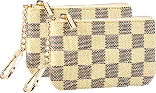 Rita Messi Luxury Checkered Zip Coin Pouch Purse Change Holder Wallet with Key Chain 2 pcs Set (Tiffany)