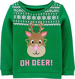 Carter's Girls' Reindeer Graphic Sweatshirt, Green, 3m