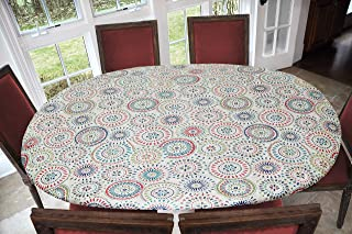 """Best Elastic Edged Flannel Backed Vinyl Fitted Table Cover - Multi-Color Geometric Pattern - Oblong/Oval  Fits Tables Up to 48""""W x 68""""L Reviews"""