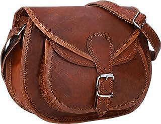 Gusti Umhängetasche Damen Leder - Evelyn Ledertasche Handtasche Schultertasche Lederhandtasche Damentasche Schnallverschluss Vintage Braun