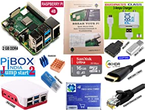 PiBOX India Raspberry Pi 4 2GB Jump Start2 Combo kit 4223W with Pi4 2GB, Pi4 Official case,16GB Noobs Card, BIS 3 Amps Charger, Copper Heatsink, HDMI Cable, Ethernet Cable and Adapters - 2019 Model