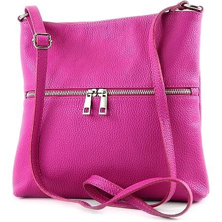 modamoda de - T144 - ital Umhängetasche Schultertasche aus Leder, Farbe:Pink