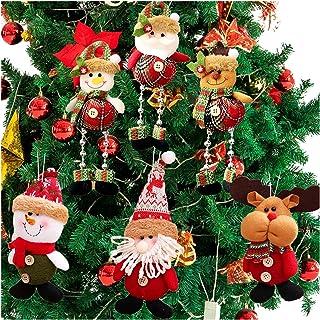 Danirora Plush Christmas Ornaments, [6 Pack] Xmas Decorations Christmas Tree Ornaments Pendant Santa/Snowman/Reindeer Orna...