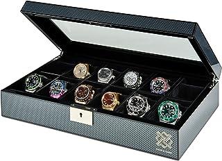 Elegant, 12 Slot Watch Box Organizer with Lock | Premium Jewelry & Watch Display Case | Storage Cases for Watches | Large,...